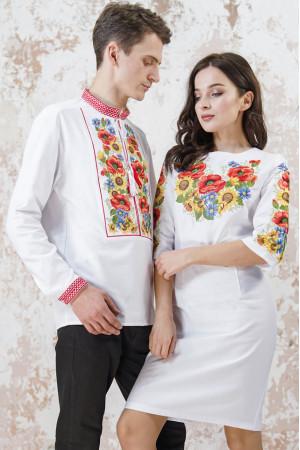 Вышитый комплект для пары «Украинский букет» белого цвета