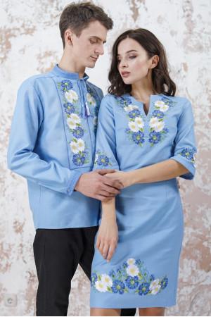 Вышитый комплект для пары «Васильковые мечты» голубого цвета