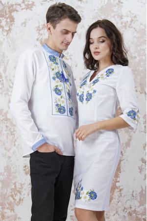 Вышитый комплект для пары «Васильковые мечты» белого цвета
