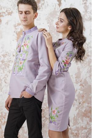 Вышитый комплект для пары «Лилия» сиреневого цвета