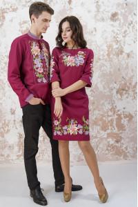 Вышитый комплект для пары «Лилия» вишневого цвета