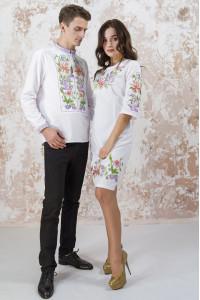 Вышитый комплект для пары «Лилия» белого цвета