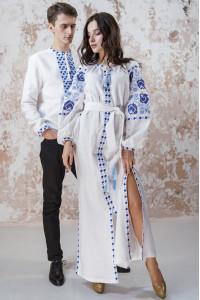 Вышитый комплект для пары «Очарование» белого цвета