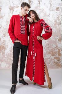 Вышитый комплект для пары «Очарование» красного цвета
