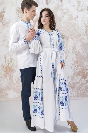 Вишитий комплект для пари «Чарівність» білого кольору з клинами