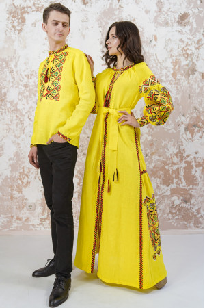 Вышитый комплект для пары «Фортуна» желтого цвета