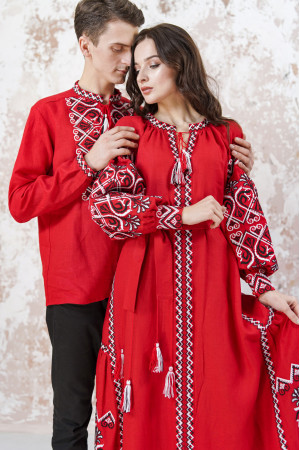 Вышитый комплект для пары «Фортуна» красного цвета