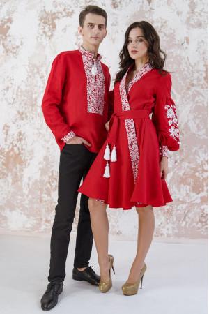 Вишитий комплект для пари «Жар-птиця» червоного кольору