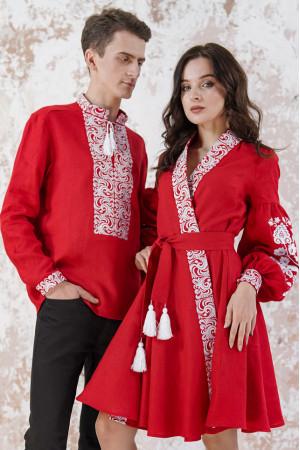 Вышитый комплект для пары «Жар-птица» красного цвета