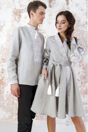 Вышитый комплект для пары «Жар-птица» серого цвета