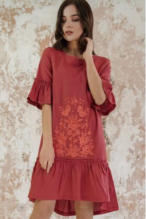 Платье «Цветочное пламя» терракотового цвета