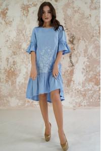 Платье «Цветочное пламя» цвета ультрамарин