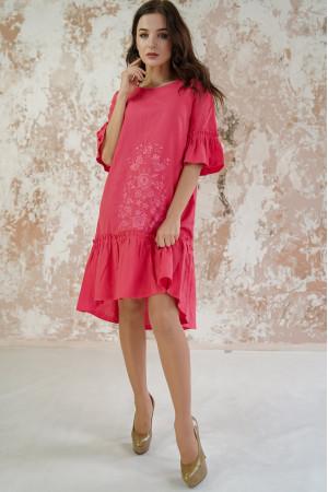 Платье «Цветочное пламя» кораллового цвета