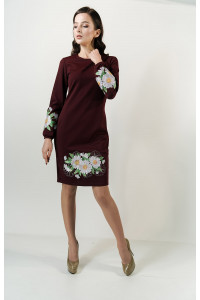 Сукня «Букет ромашок» бордового кольору