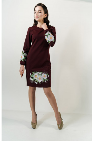 Платье «Букет ромашек» бордового цвета