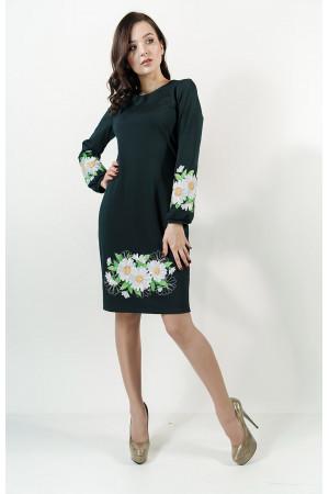 Платье «Букет ромашек» изумрудного цвета