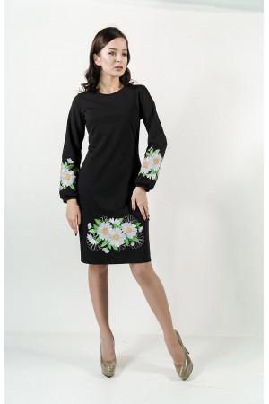 Платье «Букет ромашек» черного цвета