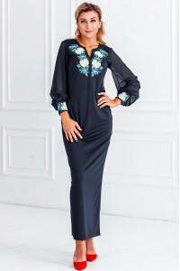 Платье «Васильковые мечты» темно-синего цвета, длинное