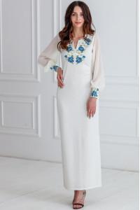 Платье «Васильковые мечты» молочного цвета, длинное