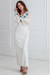 Сукня «Волошкові мрії» молочного кольору, довга