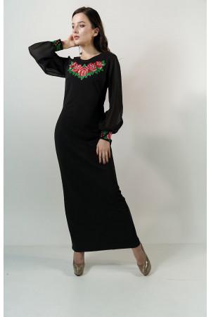 Платье «Дуновение розы» черного цвета, длинное
