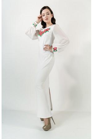 Платье «Дуновение розы» молочного цвета, длинное