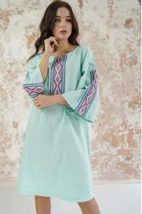 Сукня «Гуцулка» кольору світлої м'яти