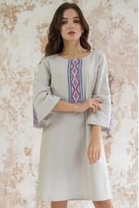 Сукня «Гуцулка» світло-сірого кольору