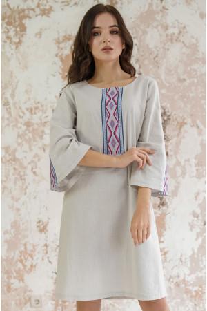 Платье «Гуцулка» светло-серого цвета