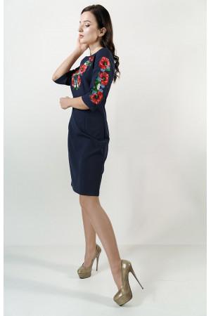 Платье «Цветущее поле» темно-синего цвета