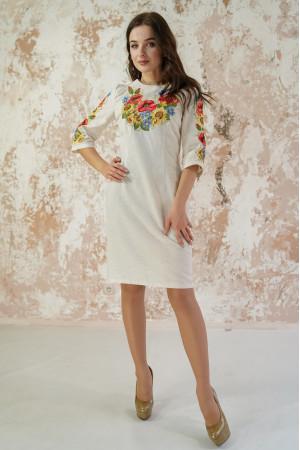 Платье «Украинский букет» серого цвета