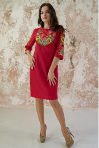 Платье «Украинский букет» красного цвета