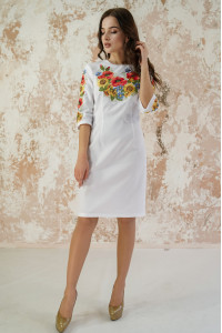 Сукня «Український букет» білого кольору