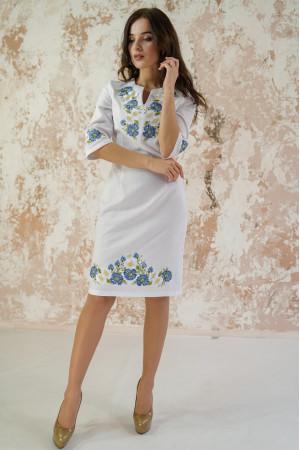 Платье «Васильковые мечты» белого цвета