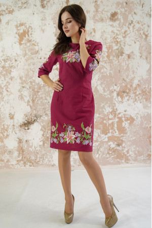 Платье «Лилия» вишневого цвета