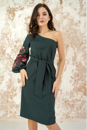 Платье «Цветочный лабиринт» изумрудного цвета