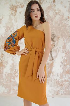 Платье «Цветочный лабиринт» горчичного цвета