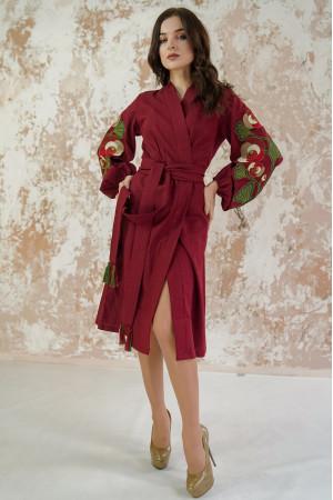 Платье-халат «Цветочная ветвь» цвета марсала
