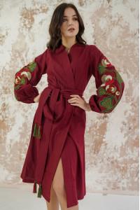 Сукня-халат «Квіткова гілка» кольору марсала