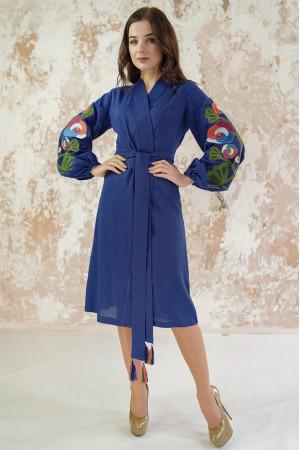 Платье-халат «Цветочная ветвь» цвета темный электрик