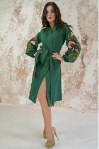 Платье-халат «Цветочная ветвь» зеленого цвета