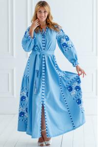 Вышитое платье «Очарование» голубого цвета с клиньями