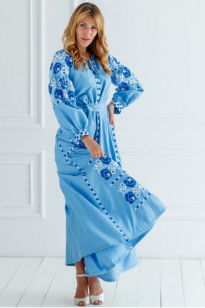 Вишита сукня «Чарівність» блакитного кольору з клинами