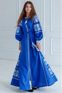 Вышитое платье «Очарование» цвета электрик с клиньями