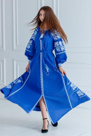 Вишита сукня «Чарівність» кольору електрик з клинами