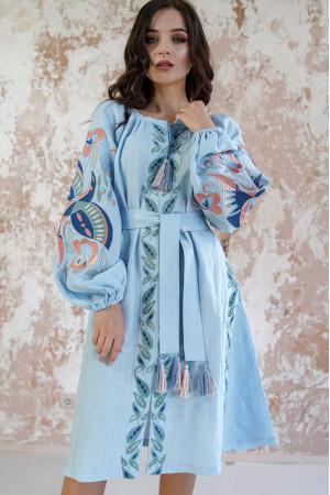 Платье «Птица» голубого цвета