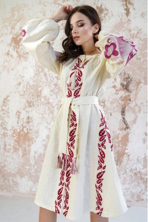 Платье «Птица» бежевого цвета
