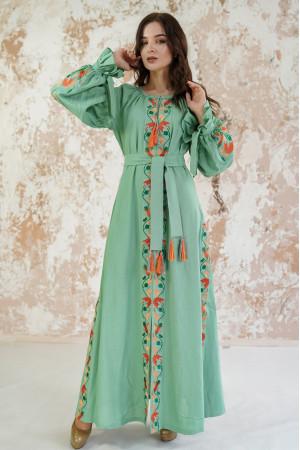 Платье «Рассветные росы» фисташкового цвета