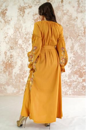 Платье «Рассветные росы» цвета охры