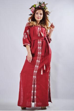 """Платье """"Мотивы геометрии"""" бордового цвета"""